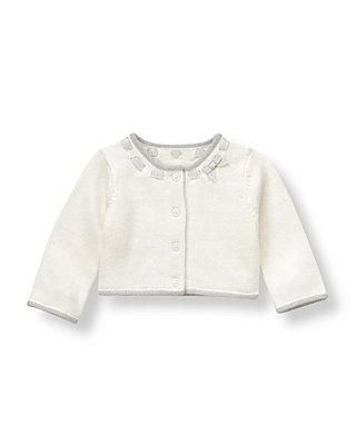 French Ivory Metallic Ribbon Cardigan at JanieandJack