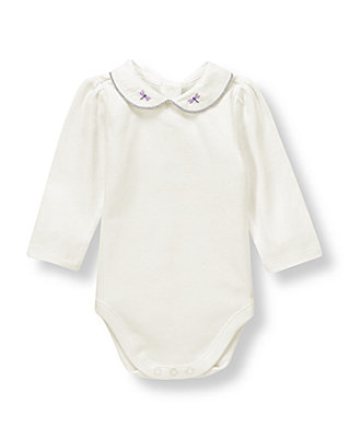 French Ivory Dragonfly Collared Bodysuit at JanieandJack
