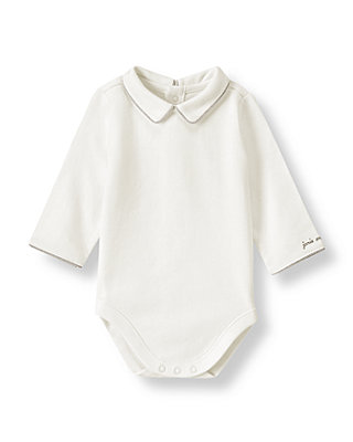 Ivory Piped Collar Bodysuit at JanieandJack