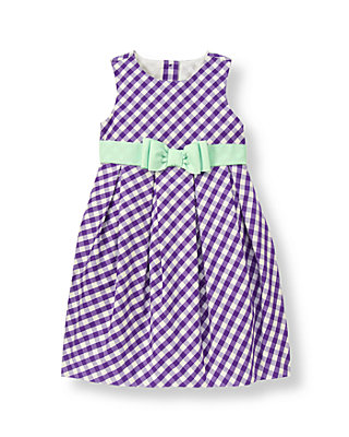 Royal Purple Check Ribbon Sash Gingham Dress at JanieandJack