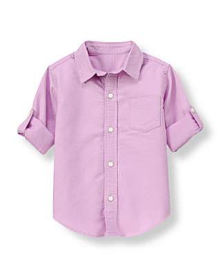 Lavender Dobby Roll Cuff Shirt at JanieandJack