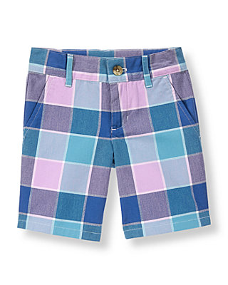 Tidal Blue Plaid Plaid Canvas Short at JanieandJack