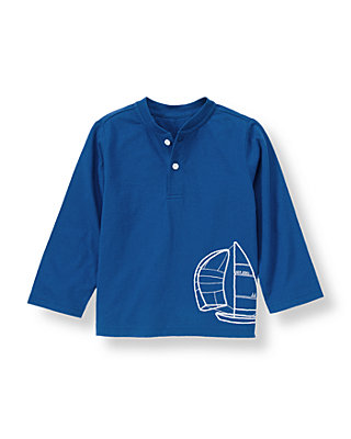 Ocean Indigo Sailboat Henley Tee at JanieandJack