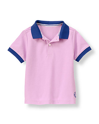Lavender Sailboat Pique Polo Shirt at JanieandJack