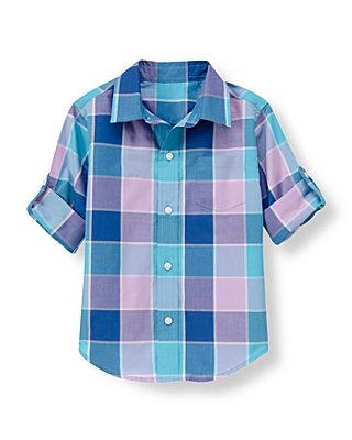 Tidal Blue Plaid Plaid Roll Cuff Shirt at JanieandJack