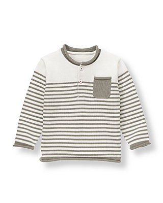 Ivory Stripe Striped Henley Sweater at JanieandJack