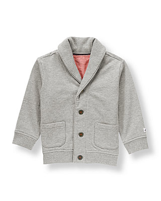 Heathered Grey Shawl Collared Cardigan at JanieandJack