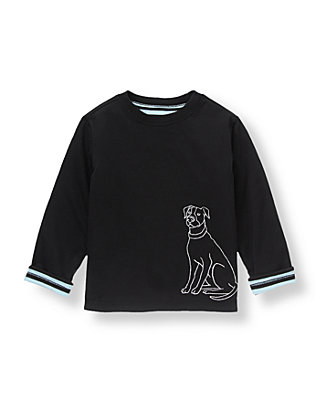 Black/Black Stripe Dog Striped Reversible Tee at JanieandJack