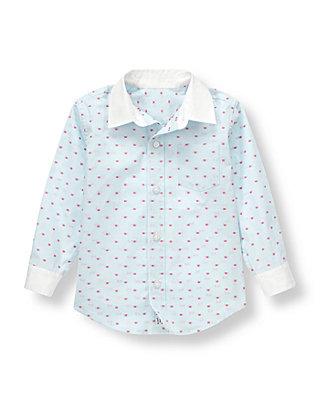 Pale Blue Stripe Striped Dot Dress Shirt at JanieandJack