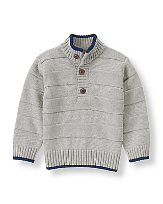 Aviator Grey Tipped Textured Sweater at JanieandJack