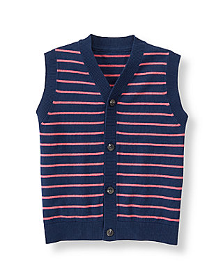 Salmon Stripe Striped Sweater Vest at JanieandJack