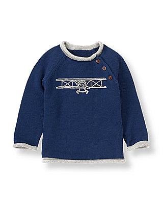 Navy Airplane Sweater at JanieandJack