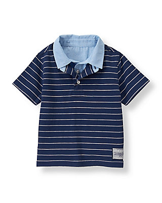 Navy Stripe Striped Polo Shirt at JanieandJack