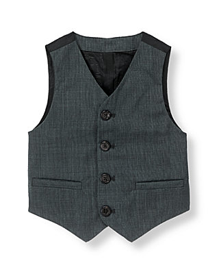 Classic Blue-Grey Wool Suit Vest at JanieandJack