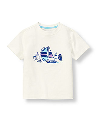 Classic Ivory Sailboat Tee at JanieandJack