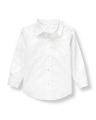 Boys French Ivory Dobby Dress Shirt at JanieandJack