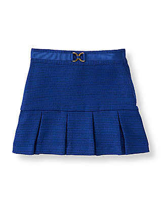 Violet Blue Pleated Boucle Skirt at JanieandJack