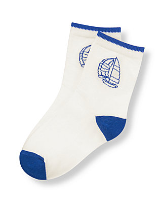 Boys Classic Ivory Sailboat Sock at JanieandJack