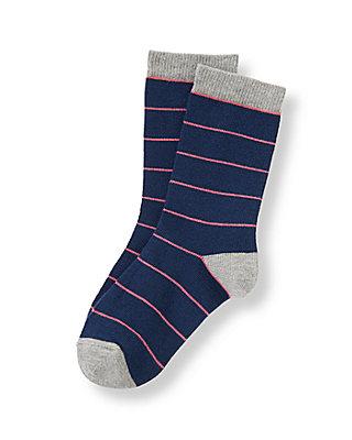 Boys Salmon Stripe Striped Sock at JanieandJack