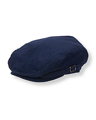 Boys Navy Blue Corduroy Cap at JanieandJack