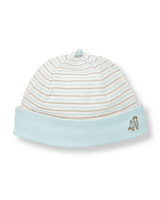 Baby Boy Train Blue Stripe Train Striped Beanie at JanieandJack