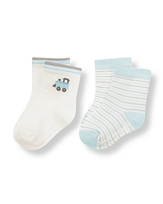 Baby Boy Ivory/Train Blue Stripe Train Stripe Sock Two-Pack at JanieandJack