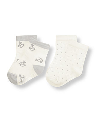 Ivory Rocking Horse Dotted Sock Two-Pack at JanieandJack