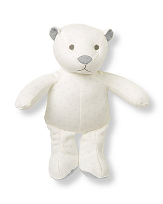 Ivory Dot Dotted Bear Rattle at JanieandJack