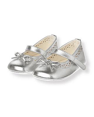 Metallic Silver Metallic Crib Shoe at JanieandJack