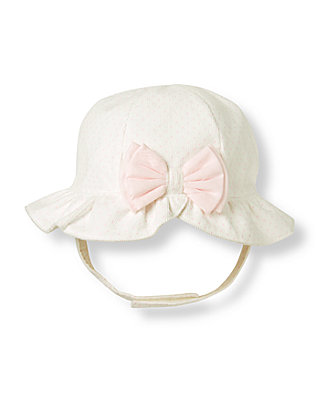 Ivory Dot Bow Dot Bonnet at JanieandJack