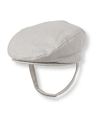 Baby Boy Light Grey Herringbone Herringbone Cap at JanieandJack