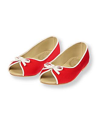 Crimson Peep Toe Ballet Flat at JanieandJack