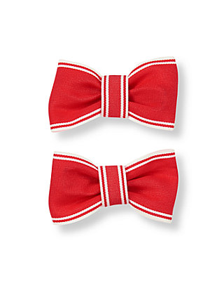Crimson Ribbon Barrette Two-Pack at JanieandJack