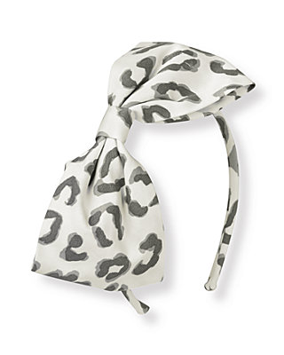 French Ivory Leopard Leopard Bow Headband at JanieandJack