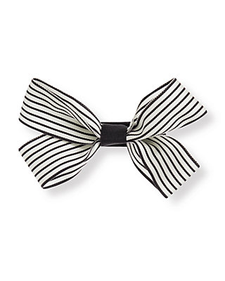 French Ivory Stripe Striped Bow Barrette at JanieandJack