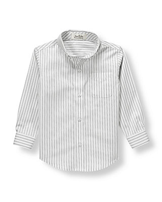 Grey Stripe Striped Dress Shirt at JanieandJack