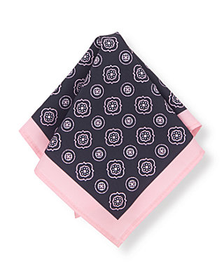 Classic Navy Patterned Pocket Square at JanieandJack
