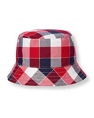 Boys American Red Plaid Plaid Bucket Hat at JanieandJack