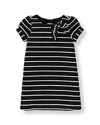 Black Stripe Bow Striped Dress at JanieandJack