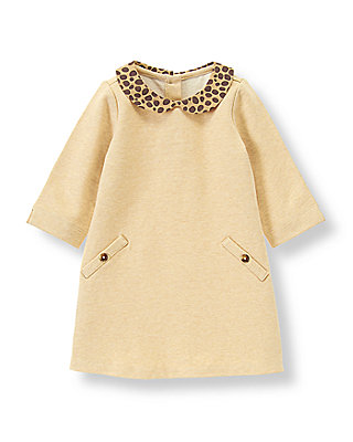 Camel Leopard Collar Dress at JanieandJack