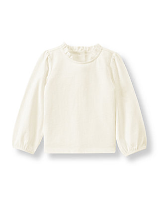 Ivory Ruffle Neck Top at JanieandJack