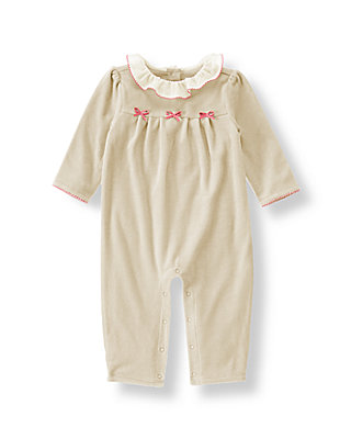 Baby Girl Nougat Bow Velour One-Piece at JanieandJack