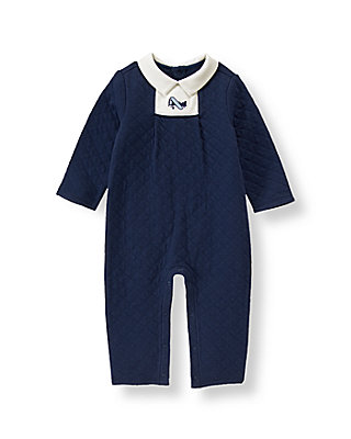 Baby Boy Navy Airplane Quilted One-Piece at JanieandJack