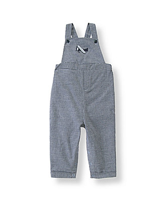 Navy Houndstooth Airplane Houndstooth Overall at JanieandJack