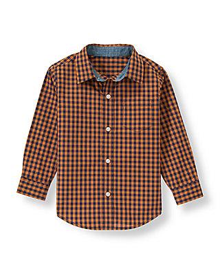 Orange Rust Check Gingham Shirt at JanieandJack