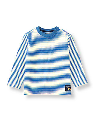 Cornflower Blue Stripe Long Sleeve Striped Tee at JanieandJack