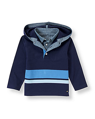 Classic Navy Striped Hooded Henley Tee at JanieandJack