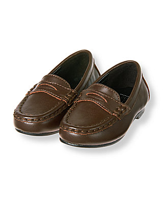Dark Brown Leather Loafer at JanieandJack