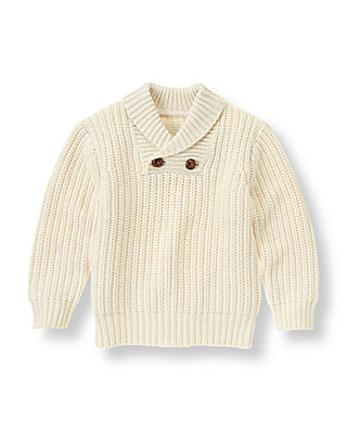 Ivory Shawl Collar Cable Sweater at JanieandJack