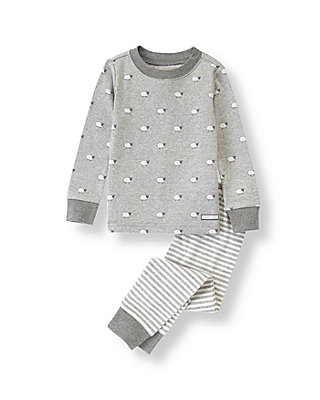 Heathered Grey Sheep Sheep Print Pajama Set at JanieandJack